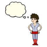 Cartoon woman with hands on hips with thought bubble Royalty Free Stock Image