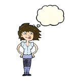 Cartoon woman with hands on hips with thought bubble Stock Photos