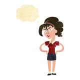 Cartoon woman with hands on hips with thought bubble Royalty Free Stock Images