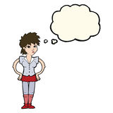 Cartoon woman with hands on hips with thought bubble Royalty Free Stock Photo