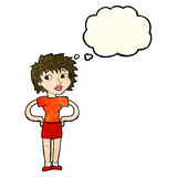 Cartoon woman with hands on hips with thought bubble Stock Images