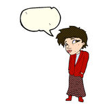 Cartoon woman with hands in pockets with speech bubble Royalty Free Stock Photography