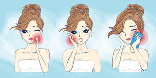 Cartoon woman have toothache Royalty Free Stock Images