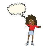 Cartoon woman having trouble walking in heels with speech bubble Royalty Free Stock Photography