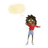 Cartoon woman having trouble walking in heels with speech bubble Stock Photography