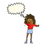 Cartoon woman having trouble walking in heels with speech bubble Stock Photos