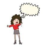 Cartoon woman having trouble walking in heels with speech bubble Stock Photo