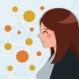 Cartoon woman with hay fever royalty free stock image