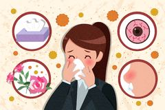 Cartoon woman with hay fever stock image