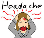 Cartoon woman headache stress Royalty Free Stock Images