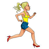 Cartoon woman in high heels running, side view Stock Image
