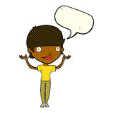 Cartoon woman holding arms in air with speech bubble Royalty Free Stock Images