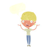 Cartoon woman holding arms in air with speech bubble Royalty Free Stock Photography