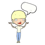 Cartoon woman holding arms in air with speech bubble Royalty Free Stock Photos
