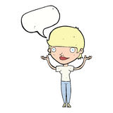 Cartoon woman holding arms in air with speech bubble Stock Image