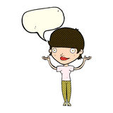 Cartoon woman holding arms in air with speech bubble Stock Photography