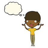 Cartoon woman holding arms in air with thought bubble Royalty Free Stock Photo