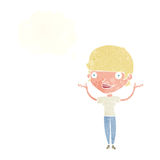 Cartoon woman holding arms in air with thought bubble Royalty Free Stock Photography