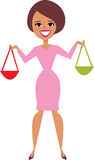 Cartoon Woman Holding handbags Royalty Free Stock Image