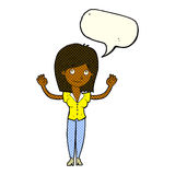 Cartoon woman holding up hands with speech bubble Stock Images