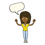 Cartoon woman holding up hands with speech bubble Stock Photo