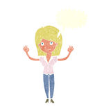 Cartoon woman holding up hands with speech bubble Royalty Free Stock Photography