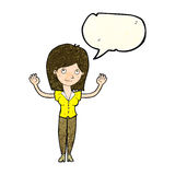 Cartoon woman holding up hands with speech bubble Stock Photography