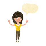 Cartoon woman holding up hands with speech bubble Stock Photos