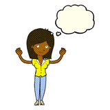 Cartoon woman holding up hands with thought bubble Royalty Free Stock Photography