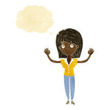Cartoon woman holding up hands with thought bubble Royalty Free Stock Image