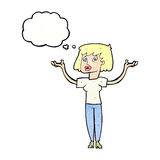 Cartoon woman holding up hands with thought bubble Royalty Free Stock Photos