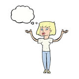 Cartoon woman holding up hands with thought bubble Royalty Free Stock Images