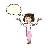 Cartoon woman holding up hands with thought bubble Stock Images