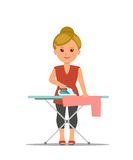 Cartoon woman housewife ironing clothes on iron board. Stock Photography