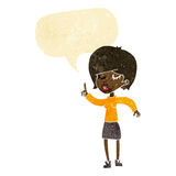 Cartoon woman with idea with speech bubble Stock Image