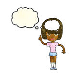 Cartoon woman with idea with thought bubble Stock Photo