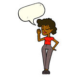 Cartoon woman ignoring with speech bubble Royalty Free Stock Image