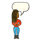 Cartoon woman ignoring with speech bubble Royalty Free Stock Photography