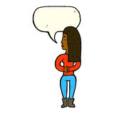 Cartoon woman ignoring with speech bubble Stock Image