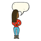 Cartoon woman ignoring with speech bubble Stock Images