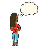 Cartoon woman ignoring with thought bubble Royalty Free Stock Photography
