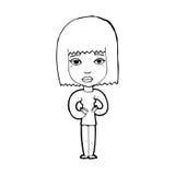 Cartoon woman indicating self Stock Photography