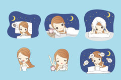 Cartoon woman is insomnia. On the bed Royalty Free Stock Photos