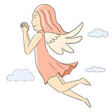 Cartoon woman isolate pink angel Stock Photo