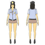 Cartoon woman isolate stand blue police uniform Stock Photography