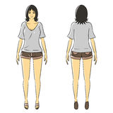 Cartoon woman isolate stand casual wear Royalty Free Stock Image