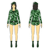 Cartoon woman isolate stand green soldier uniform Stock Image