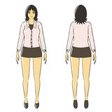 Cartoon woman isolate stand office uniform Royalty Free Stock Image