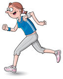 Cartoon woman jogging. Woman jogging to keep fit while listening to music Royalty Free Stock Images