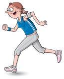 Cartoon woman jogging
